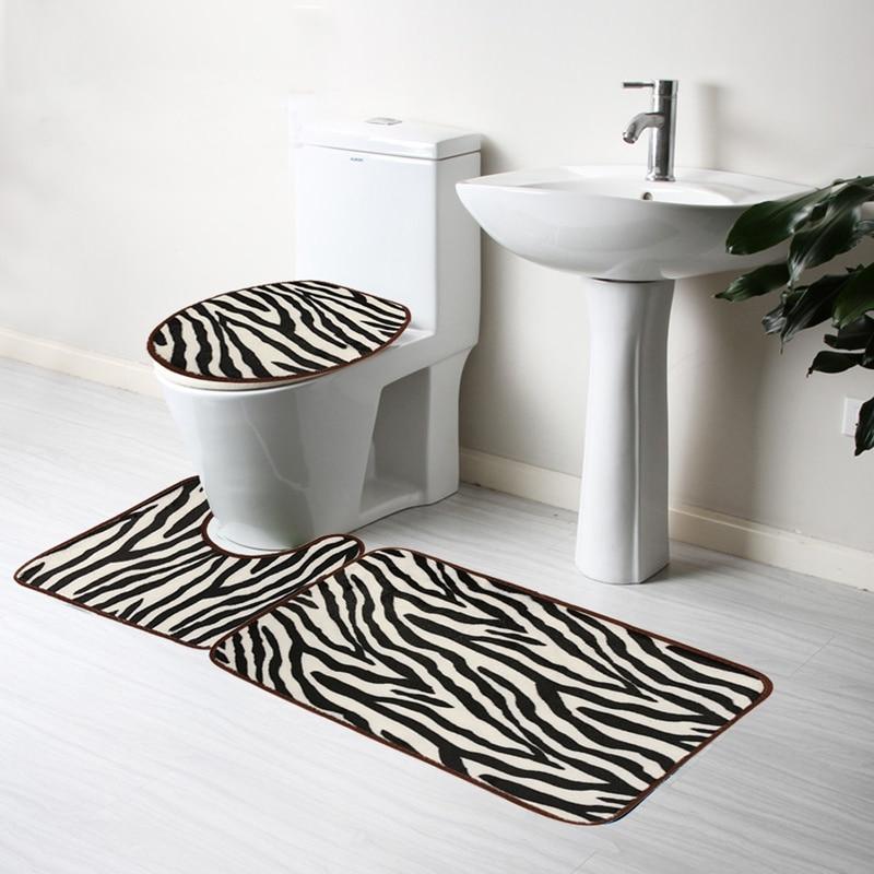 3Pcs Set Fashion Zebra Soft Flannel Bathroom Carpet Pedestal Rug Lid Toilet Cover Bath Mat. Online Get Cheap Zebra Bathroom Set  Aliexpress com   Alibaba Group