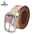 2016 Unisex Graffiti print belt burlesque  Street style belt vintage handmade genuine leather woman jeans retro Belt Buckle