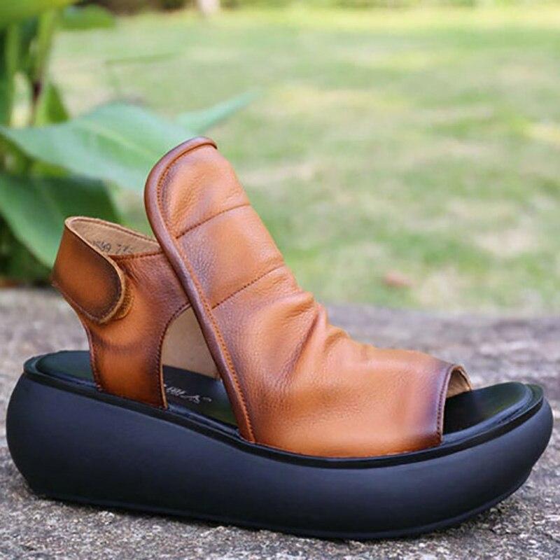 Britannico estate focaccina suola pattini, in pelle di alta tacco alto scarpe casual, vintage strappy sandali delle donne, pelle bovina di trascinamento-in Scarpe col tacco medio da Scarpe su  Gruppo 3