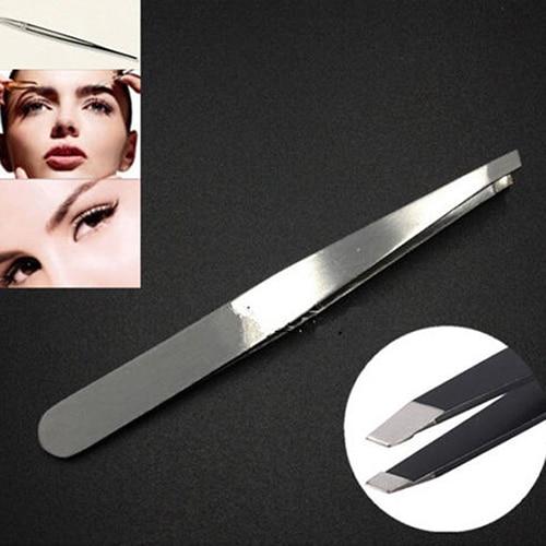 2Pcs Stainless Steel Hair Removal Slant Tip Eyebrow Tweezers Makeup Beauty Tool