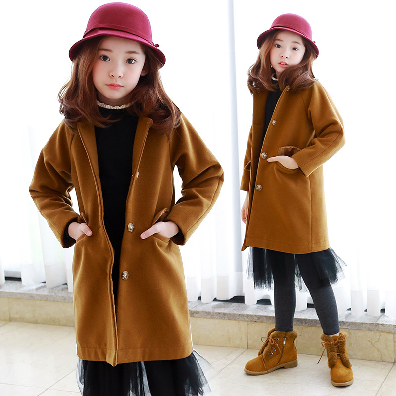 teenage woolen winter jacket for girls 10 years 8 12 14 trend coats pockets long autumn winter coat girl 2017 children clothing girls winter jackets long woolen coats for kids girls casual autumn children s clothes teenage clothing for girls 6 8 12 years