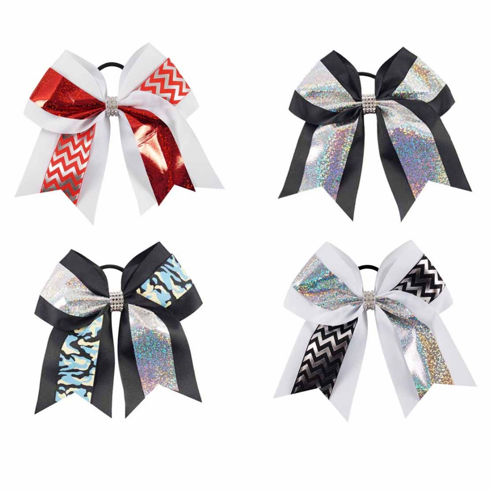 7 Inch Large Cheer Bow for Girls with Elastic Hair Ties Glitter Hair Bow with Rhinestone Hair Accessories For Girls new 10pcs girls merry christmas headband flower hair elastic bands red hair accessories bow animals pattern ropes ties gift