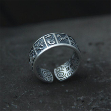 Fashion 990 Sterling Silver Open Ring Women Thai Silver Fine Jewelry Gift 8MM Wide Twelve Chinese Zodiac Finger Ring 999 sterling silver retro men male the god of the quartet ring thai silver fine jewelry gift 1 4cm wide finger ring ch045115