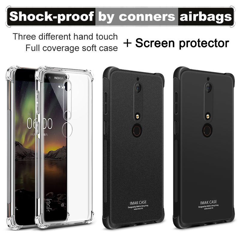 Nokia 6.1 Case Silicon IMAK Shockproof Conners Airbags Soft TPU Back Cover Case For Nokia 6 2018 Funda Capa With Film