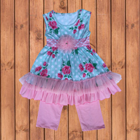 Baby Girl Boutique Clothing Sets Pink Floral Printed Outfit Set Kids Girl  Clothes Set