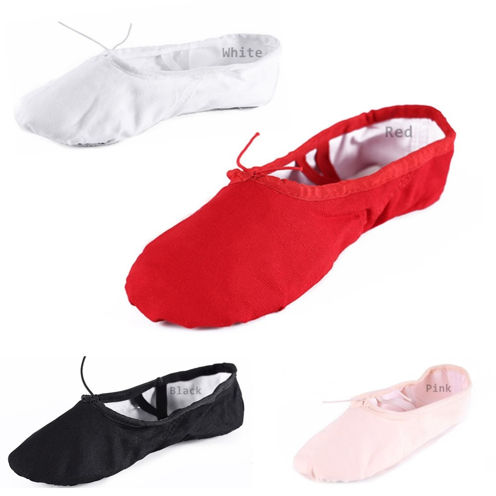 According The CM To Buy,Canvas Flat Slippers Black Red White Pink Ballet Shoes For Girls Children Woman Yoga Gym Free Shippng