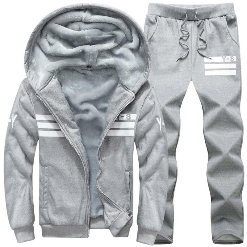 Large size M~8XL 9XL Winter Tracksuits Men Set Thicken Fleece Hoodies+Pants Suit Warm Ca ...