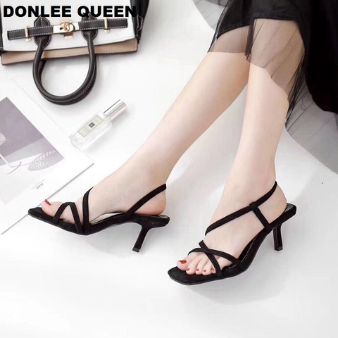 DONLEE QUEEN Black Gladiator Sandals Summer Office High Heels Shoes Woman Ankle Strap Sandal For Party Shoes Women Casual Slides Karachi