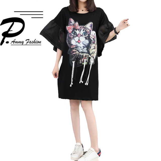 Trend Cat Patterned Mesh Sleeve Cotton Jumper Dress 2018 Korean version  Summer Plus Size Tie Tunic Dress Big Size Loose Vestidos f6e285433ecb