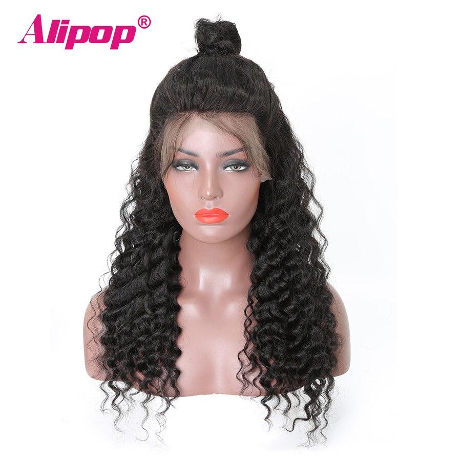Brasilian syvän aallon peruukki Remy pitsi edessä ihmisen hiukset peruukit naisten musta ALIPOP pitsi ihmisen hiukset peruukit pre kynitty pitsi edessä peruukki