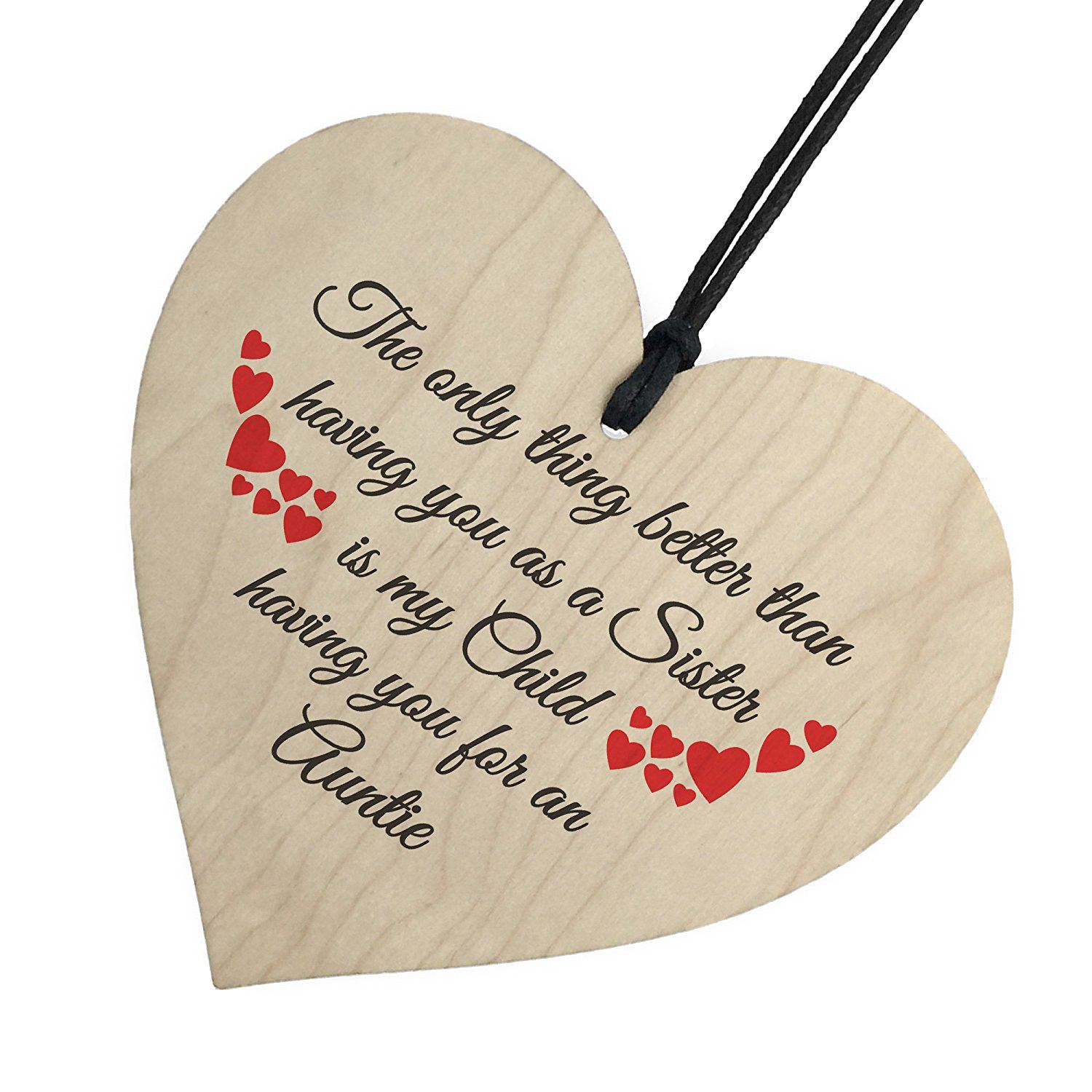 HOT SALE SISTER Child Having You As Auntie Gift Wooden Hanging Heart Christmas Plaque Aunt Birthday Gift New