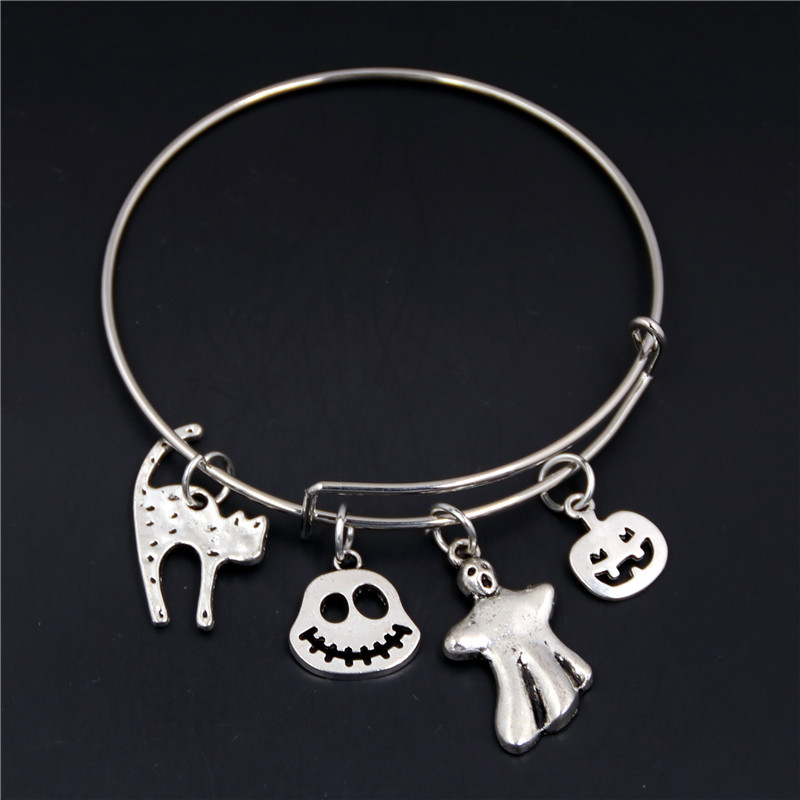 1 Pc Halloween Skull Witch Hat Pumpkin Charms Pendants Expandable Wire Bangle Bracelet Adjustable Gifts For Halloween