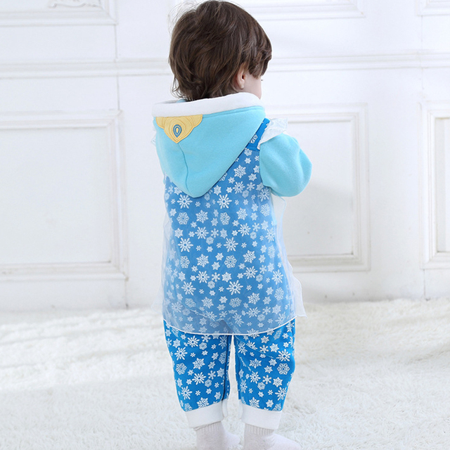 28b58d2cc97 Christmas Baby Romper Jumpsuit Blue Flannel Snowflake Newborn Baby Girl  Clothes Long Sleeve Hooded roupa de