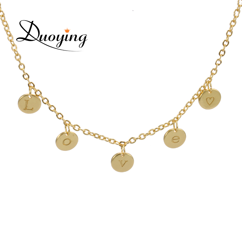 DUOYING 5 Disc Necklaces & Pendants Personalized Custom Name Letter Choker Charms Necklace Gift Initial Jewelry for Etsy Amazon