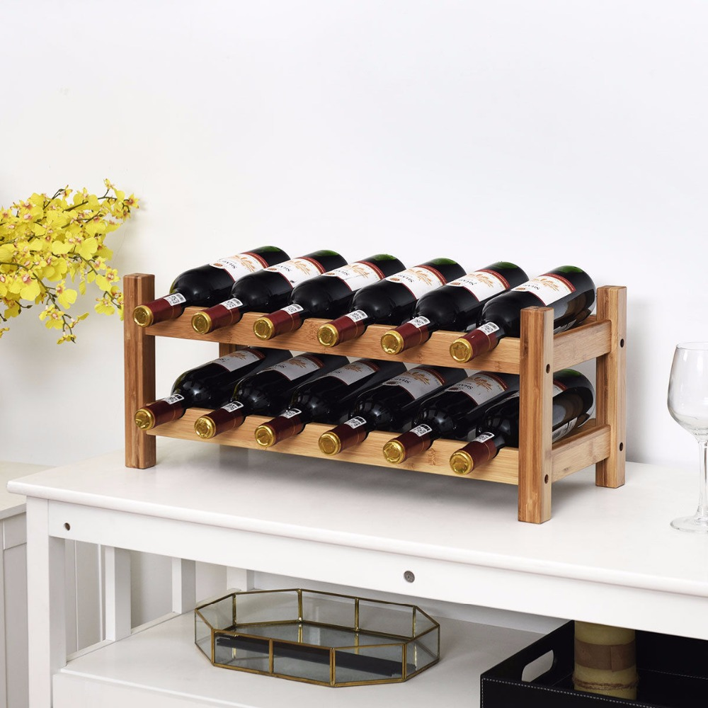 Goplus 2-Tier 12 Bottles Bamboo Wine Rack Display Storage Shelf Holder Home Kitchen HW59430