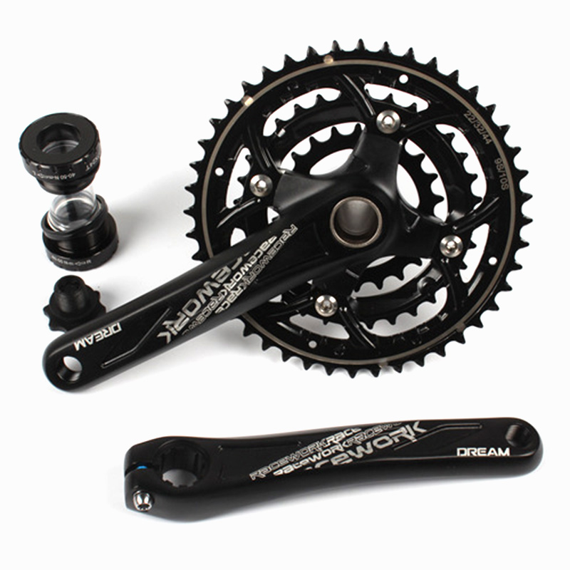 цена на 170MM Crankset Mountain Bike 27 30 Speed Hollow Integrated Crankset 22-32-44T Road Bike 170MM 7005 Aluminum Alloy Crank with BB