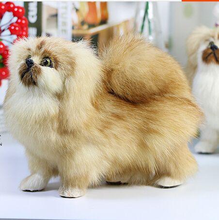 About 16x13cm Standing Pekingese Dog Model Polyethylene