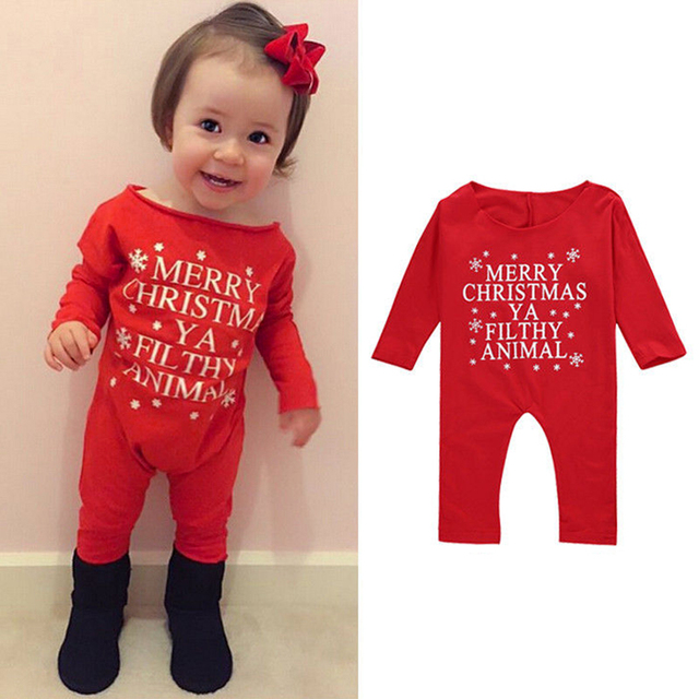 Newborn Baby Girls Christmas Clothes Long Sleeve Merry Christmas Letter Red  Romper Kids Clothes Girls Children - Newborn Baby Girls Christmas Clothes Long Sleeve Merry Christmas