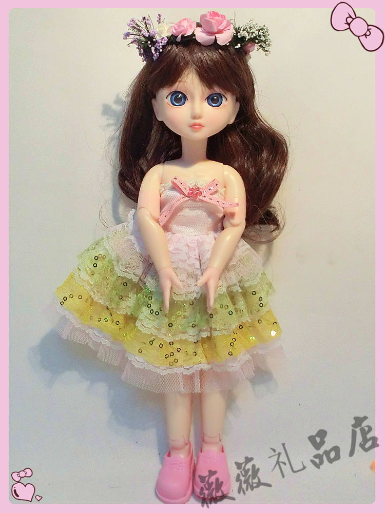 ФОТО 12inch super cute can makeup doll 1/6 Flexible joints mini bjd doll The latest toy for girl and gift Pretty Doll
