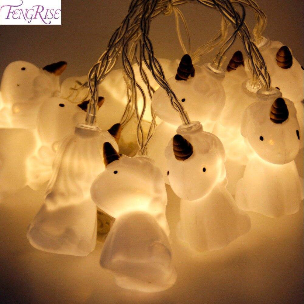 Fengrise decoración de la boda 10 unids lindo unicornio cabeza LED cadena luz de la noche romántica boda favores fiesta de cumpleaños Decoración niños