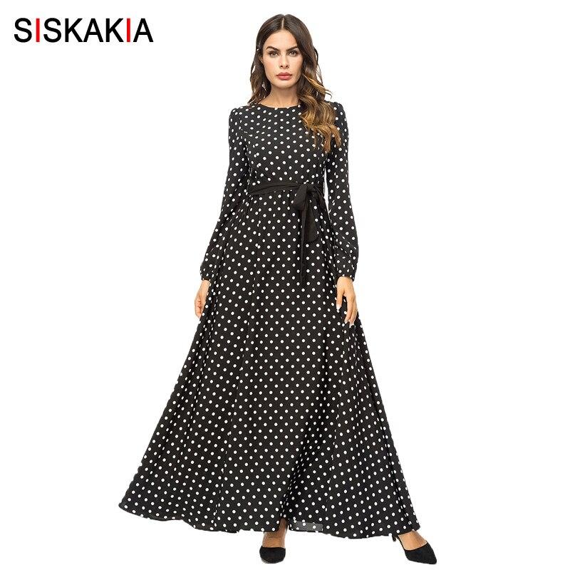 Siskakia Fashion Polka Dot Women Long Dress Black Autumn Fall 2019 Elegant Vintage Maxi Dresses Swing