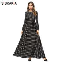 Siskakia модное женское длинное платье в горошек Черное Осеннее осеннее 2018 элегантное винтажное Макси платье с длинным рукавом ислам одежда