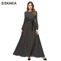 Siskakia Fashion Polka Dot Women Long Dress Black Autumn Fall 2018 Elegant Vintage Maxi Dresses Swing Long Sleeve Islam Clothing