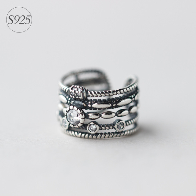 Bohemian Crossover Antique Finish 925-sterling-silver Stackable Rings | Love Sterling Silver Jewelry Braided Rings Set for Women