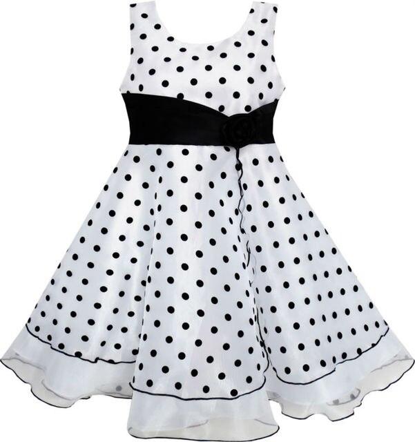 Sunny Fashion Vestidos niña Negro Blanco Dot Tul Fiesta Pageant en ...