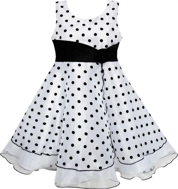 Sunny Fashion Vestidos niña Negro Blanco Dot Tul Fiesta Pageant