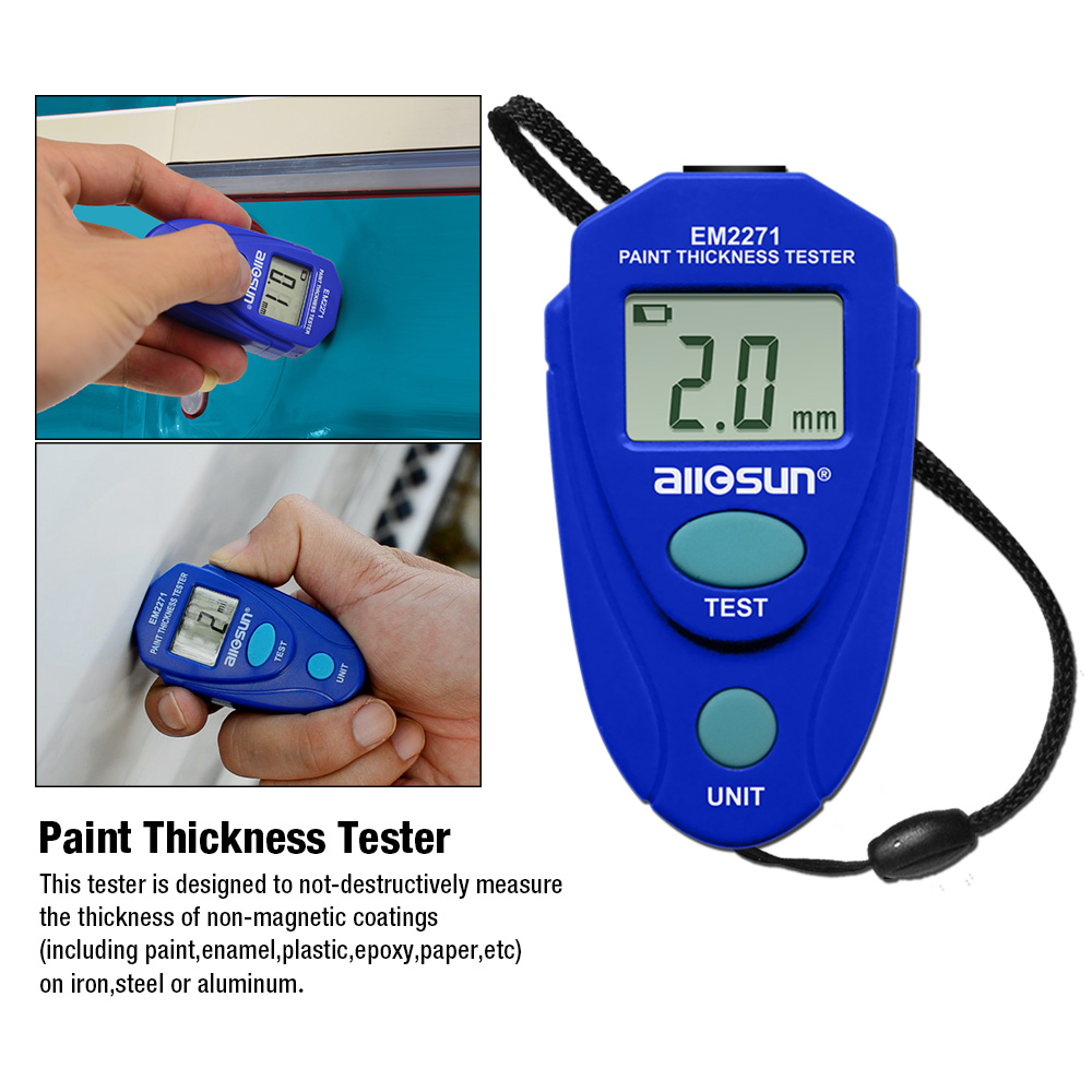 AllSun EM2271 Retail Package Digital Mini Car Painting Thickness Tester Paint Thickness Meter Automotive Coating Thickness Gauge