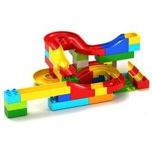 DIY Construção de Mármore Corrida Corrida Bolas Labirinto Pista de Plástico Casa Building Blocks Brinquedos para crianças Sem Caixa Compatível com Legoe