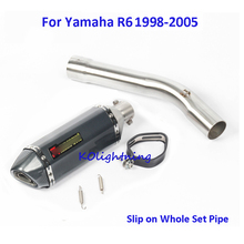 Slip on Motorcycle Exhaust Muffler Pipe Silencer & Middle Mid Pipe Connecting Link Pipe Whole Set Pipe for Yamaha R6 1998-2005 fz1 motorcycle carbon fiber exhaust pipe middle mid link connect tube slip on whole set pipe for yamaha fz1