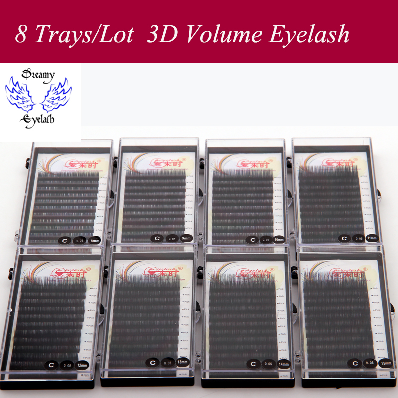 Image 1 - 8 Trays/Lot Soft and Durable lash Extension for professional Hand Made lashes 3d Natural Black Individual Korea Silk Mink Lashes-in False Eyelashes from Beauty & Health