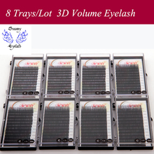 8 Trays/Lot Soft and Durable lash Extension for professional Hand Made lashes 3d Natural Black Individual Korea Silk Mink Lashes