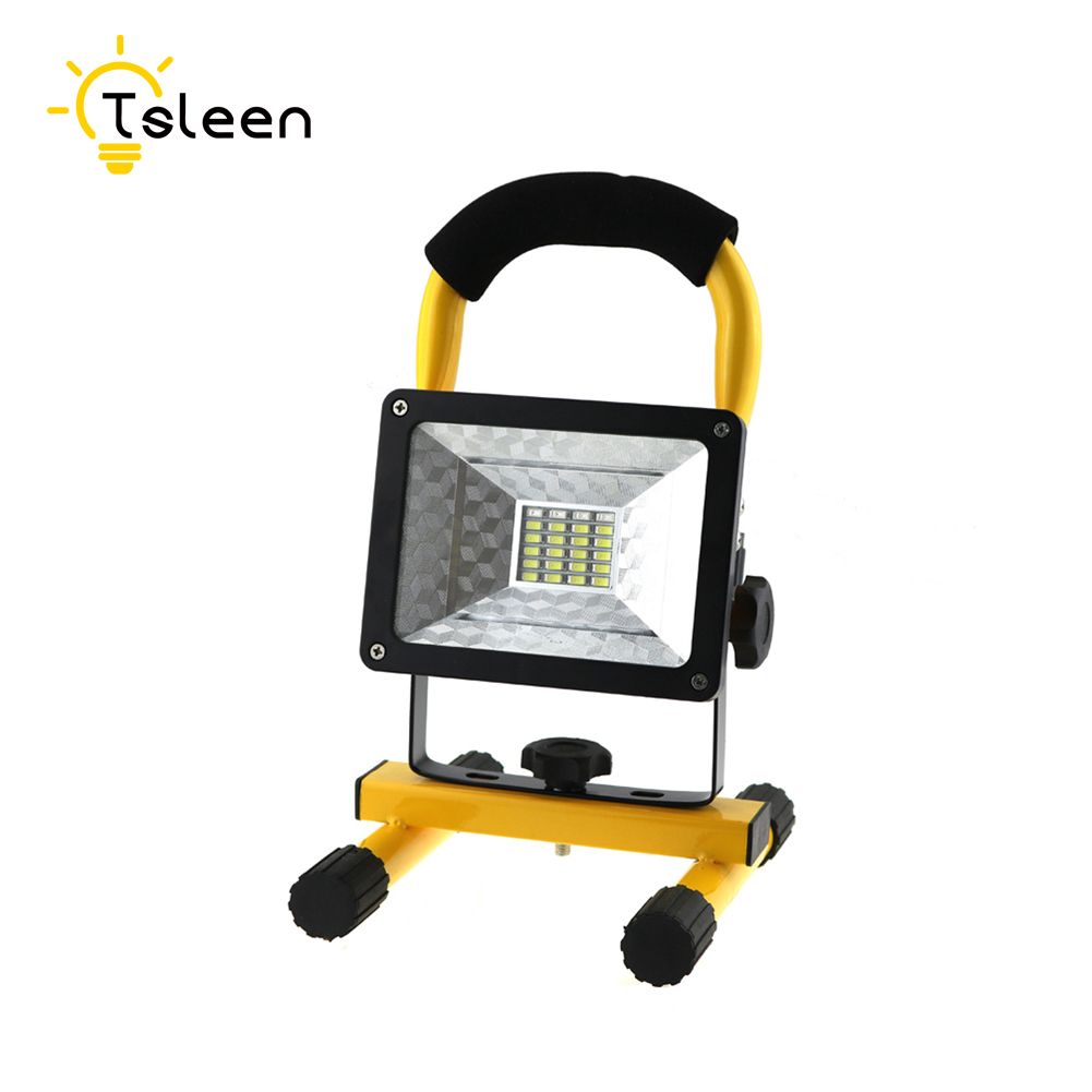 TSLEEN LED Flood Light 18650 Battery 24 LEDs Floodlight IP65 Waterproof 100-240V LED Spotlight LED Outdoor Lighting Garden Lamp led flood light waterproof ip65 200w 90 240v led floodlight spotlight fit for outdoor wall lamp garden projectors