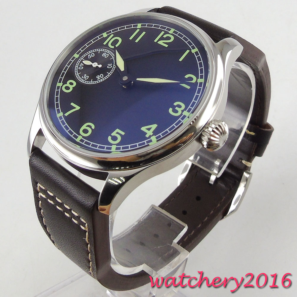 2017 Newest casual 44mm Parnis black sterile dial crystal hand winding Mechancial 17 jewels 6497 movement Mens Wrist Watch 44mm black sterile dial green marks relojes 6497 mens mechanical hand winding watch luminous armbanduhr cm164bk