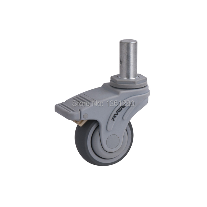 free shipping 75mm caster Full plastic plunger brake universal TPR caster Hospital medical bed swivel Equipment Instrument wheel free shipping 125mm furniture caster medical bed full plastic flat panel universal swivel medical equipment wheel with brake