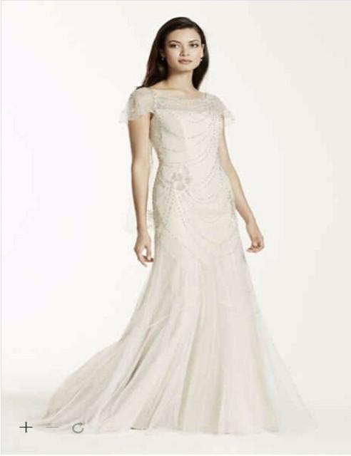 5c624975 Custom Made 2016 New Free Shipping Short Sleeve Beaded Illusion Tulle  Sheath Wedding Dress Style SWG680
