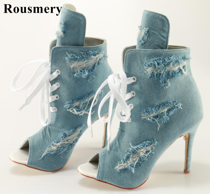 Rousmery New Fashion Women Open Toe Blue Denim Lace-up Ankle Boots Cut-out Thin High Heel Holes Jean Gladiator Boots kaeve blue denim lace up ankle boots fashion casual thin heels cross tied pumps round toe cowboy shoes jean snow boots