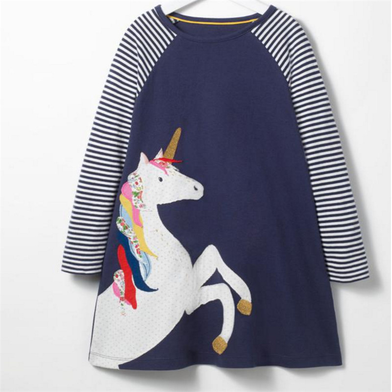 Jumping meters new arrive brand girls dresses baby clothes unicorn embroidery fashion hot selling animal applique children dress