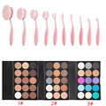 10pcs Oval Toothbrush Shape Powder Blush Makeup Brush + 15 Colors Matte Pigment Glitter Blusher Eyeshadow Palette Cosmetic Kits