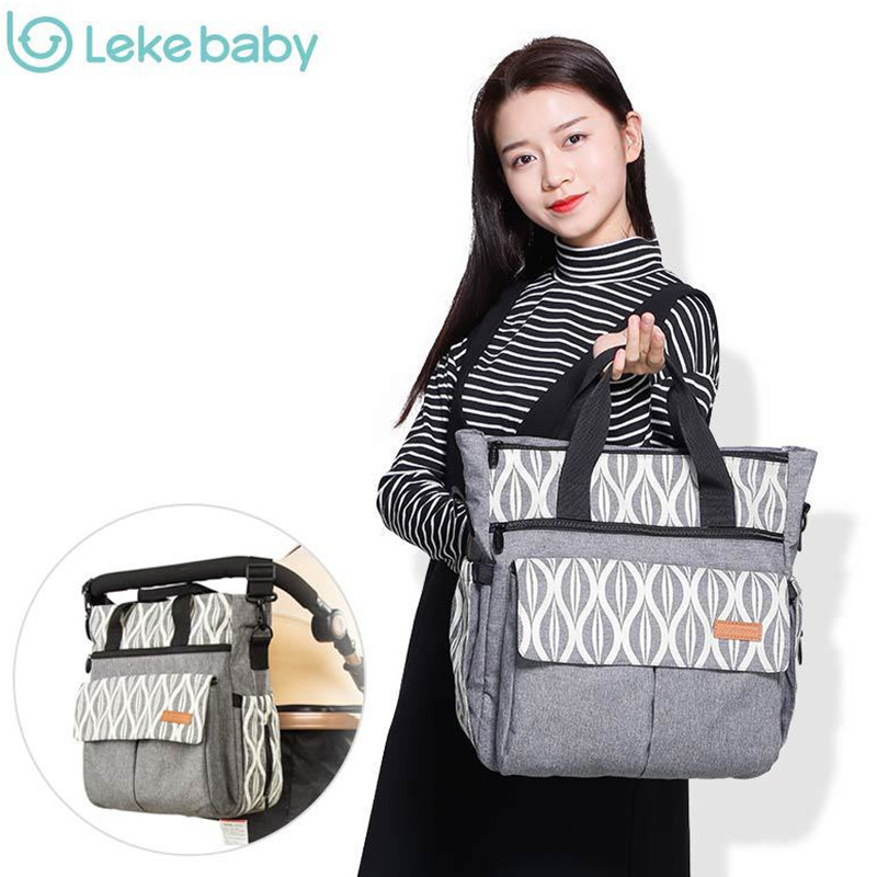 Lekebaby Free Shipping Diaper Bag Organizer Mom Maternity Oversize Opening Printed Changing Nappy Tote Bag For Baby Stroller new arrival shipping free baby diaper bag waterproof 600d nylon mommy bag changing bag women tote bag