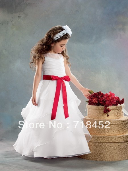 f6765ce1171 Simple Flower Girl Dresses White Organza with Red Sashes High Neck A Line  Floor Length Free Shipping SD74