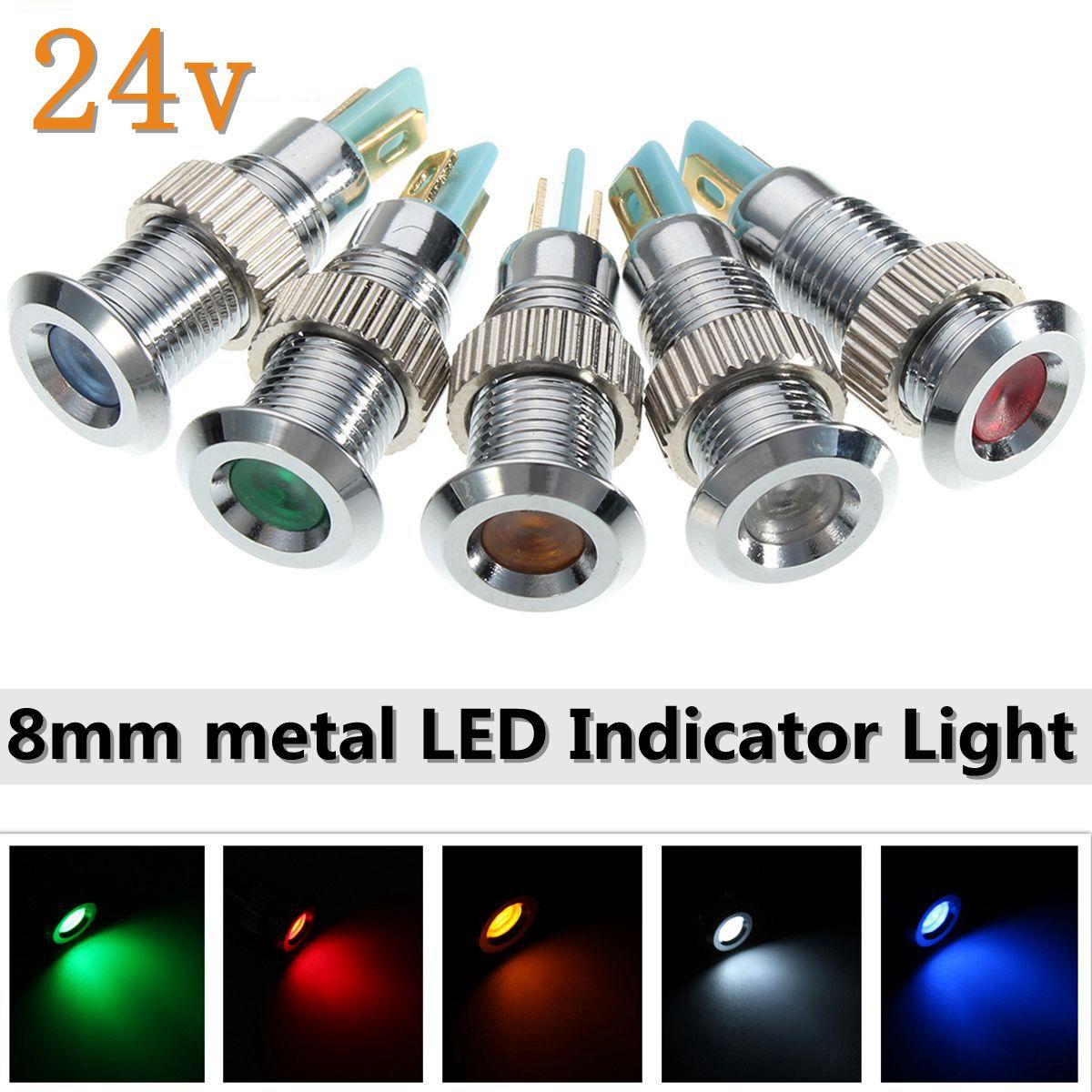 5Pcs Universal 24V 8mm Metal LED Dash Panel Warning Indicator Pilot Light Waterproof