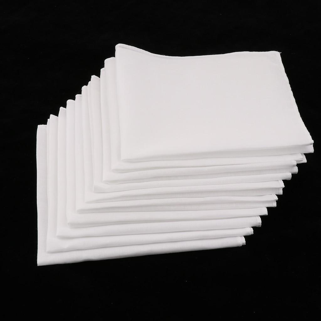 10Pcs Men Women White Cotton Handkerchiefs Classic Hankie Wedding Party Pocket Hankies Solid Pure White DIY Hankie  - 28 X 28cm