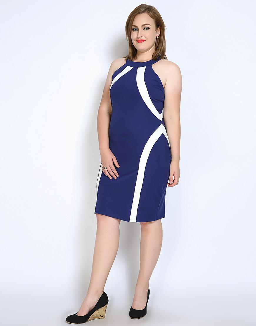 Cute Ann Women s Plus Size Strap Cocktail Party Dress Color Blocked ... 0101e896bd3a