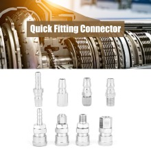 цена на Quick Fitting 14 Pneumatic Quick Fittings Release Plug Socket Connector Set for Air Compressor Hose 8Pcs