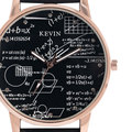 KEVIN Fashion Student Special Mathematics Geometry Formula Dial Casual Ladies Quartz Wrist Watch Women Black/Brown Leather Band