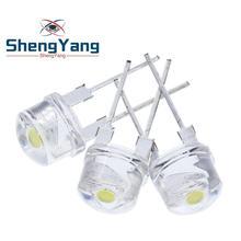 Шэньян 10 шт в упаковке, новая F8 8 мм 0,5 W 3,0-3,2 V соломенная шляпа Светодиодный белый супер яркий светодиодный светильник Широкий формат Прозрачный светодиодный светильник Strawhat светодиодный
